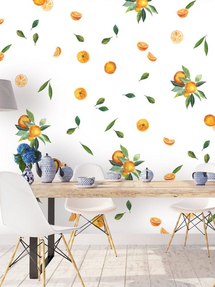 adesivo de parede frutas laranja