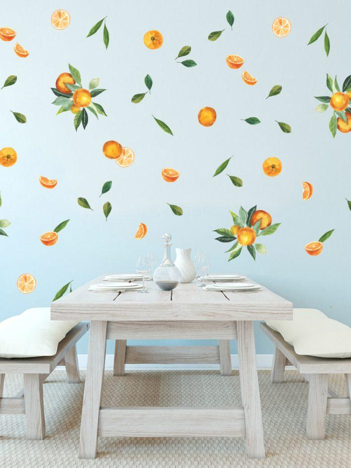 adesivo de parede laranjas