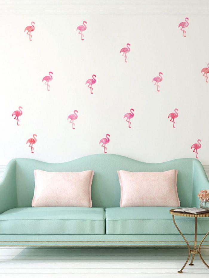 Kit adesivo de parede estampa flamingos