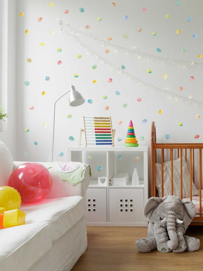 Kit adesivo de parede confetes coloridos aquarela