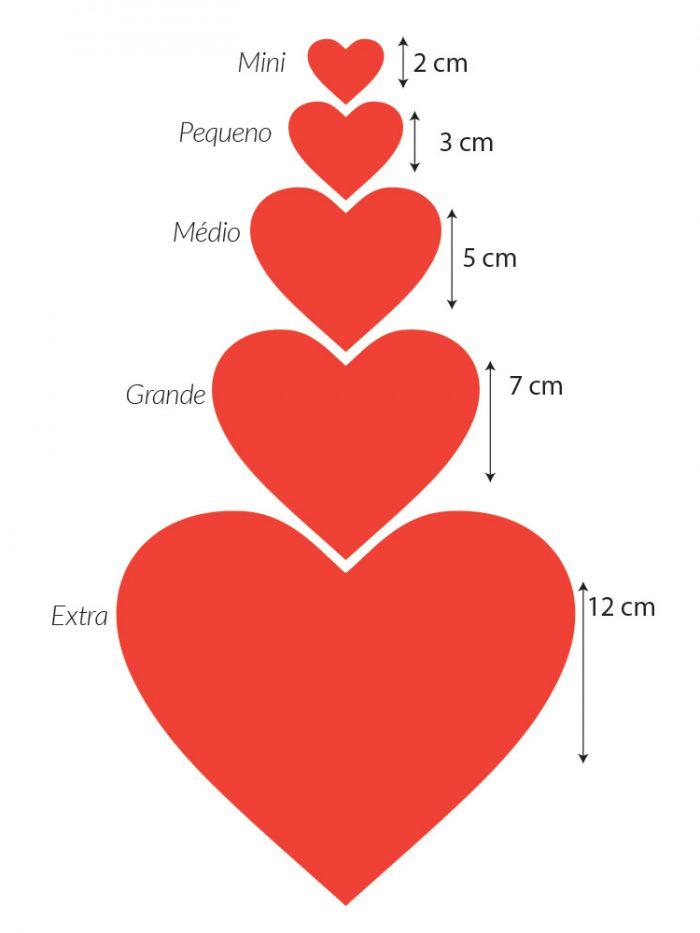 Kit mini adesivos corações - guia de tamanhos
