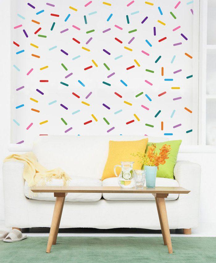 Kit adesivo de parede granulado colorido