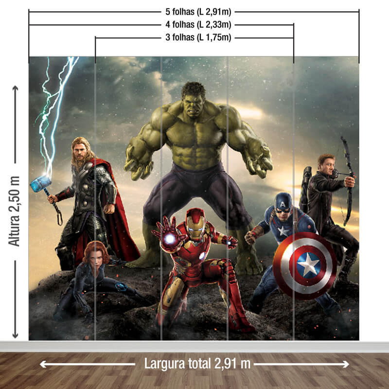 Painel Avengers - medidas