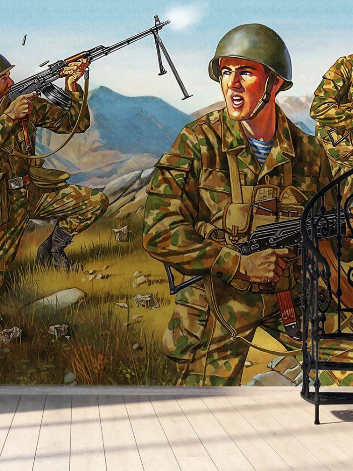 Painel fotográfico papel de parede operação militar soldados