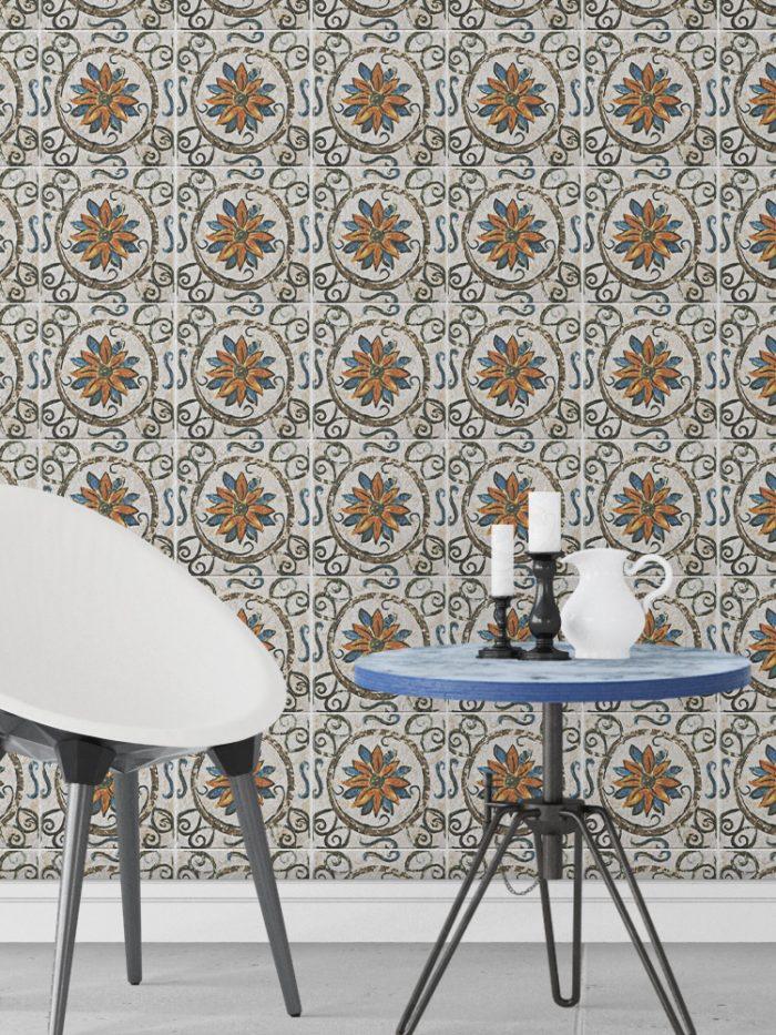 papel de parede azulejo floral