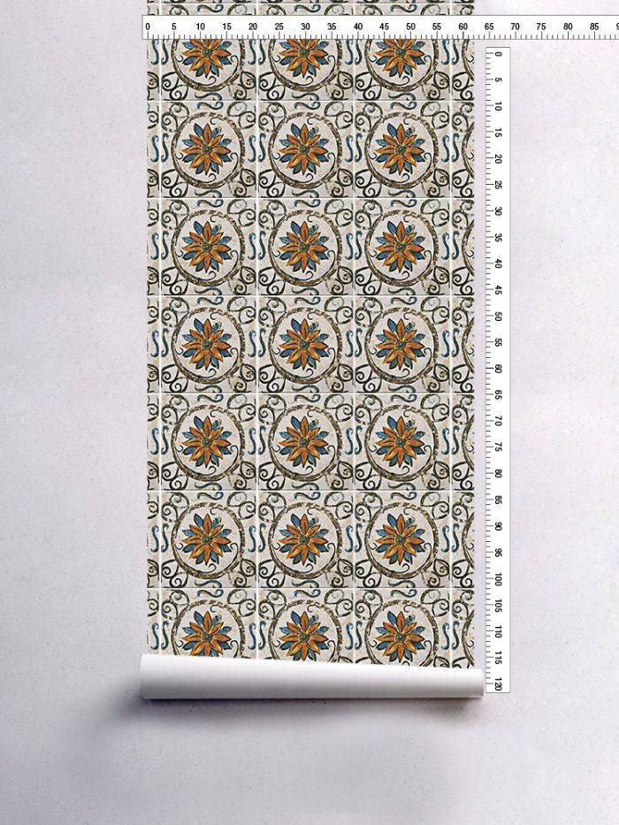 papel de parede azulejo rústico floral