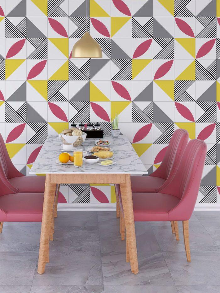Papel de parede azulejo geométrico rosa