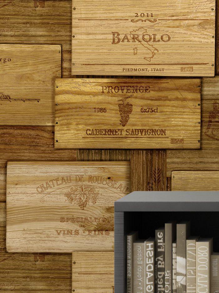 Papel de parede caixas de vinho detalhe