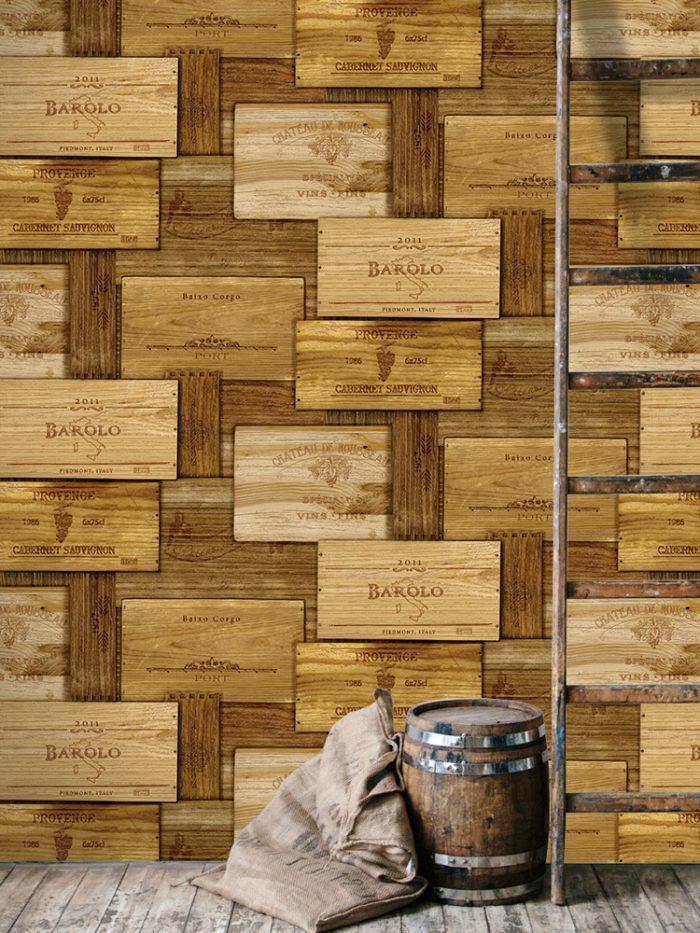 Papel de parede caixotes caixas de vinho na adega