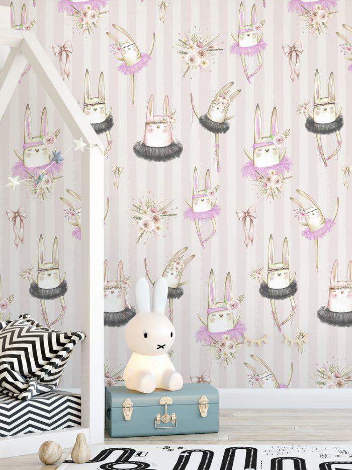 Papel de parede coelhinhas bailarinas