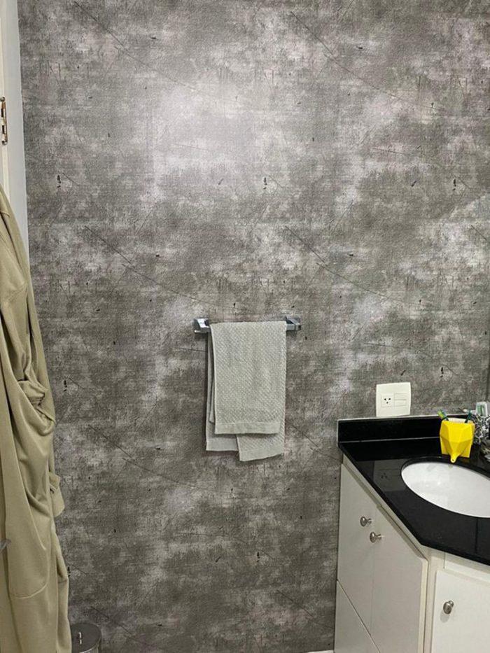 Papel de parede concreto para banheiro