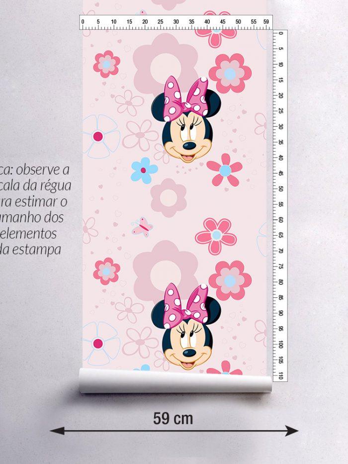 largura do papel de parede infantil Minnie rosa