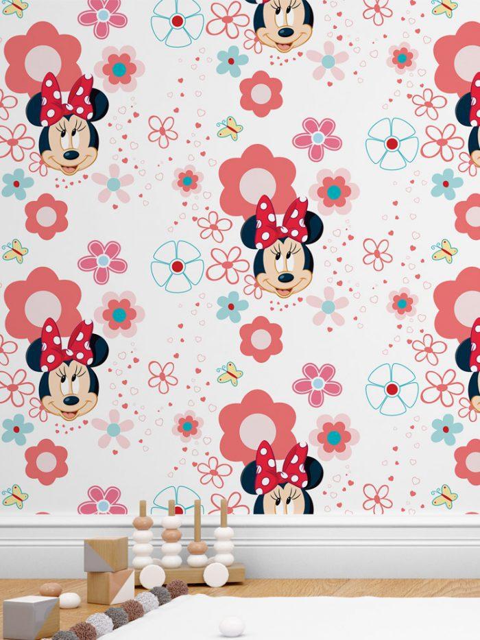 Papel de parede infantil Minnie Mouse branco e vermelho com flores