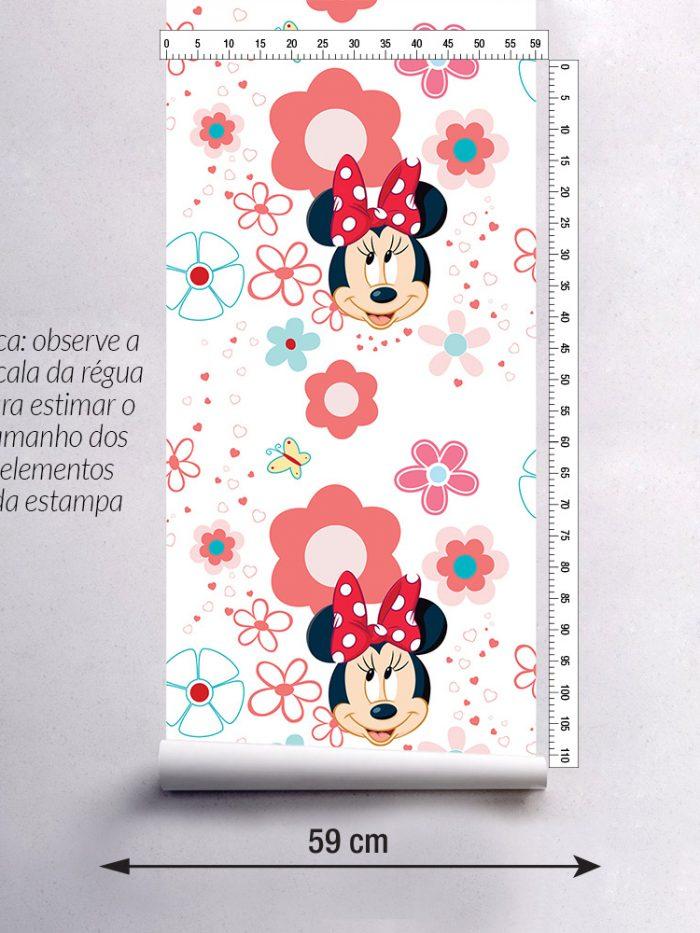 largura do papel de parede infantil Minnie Mouse vermelho e branco detalhe