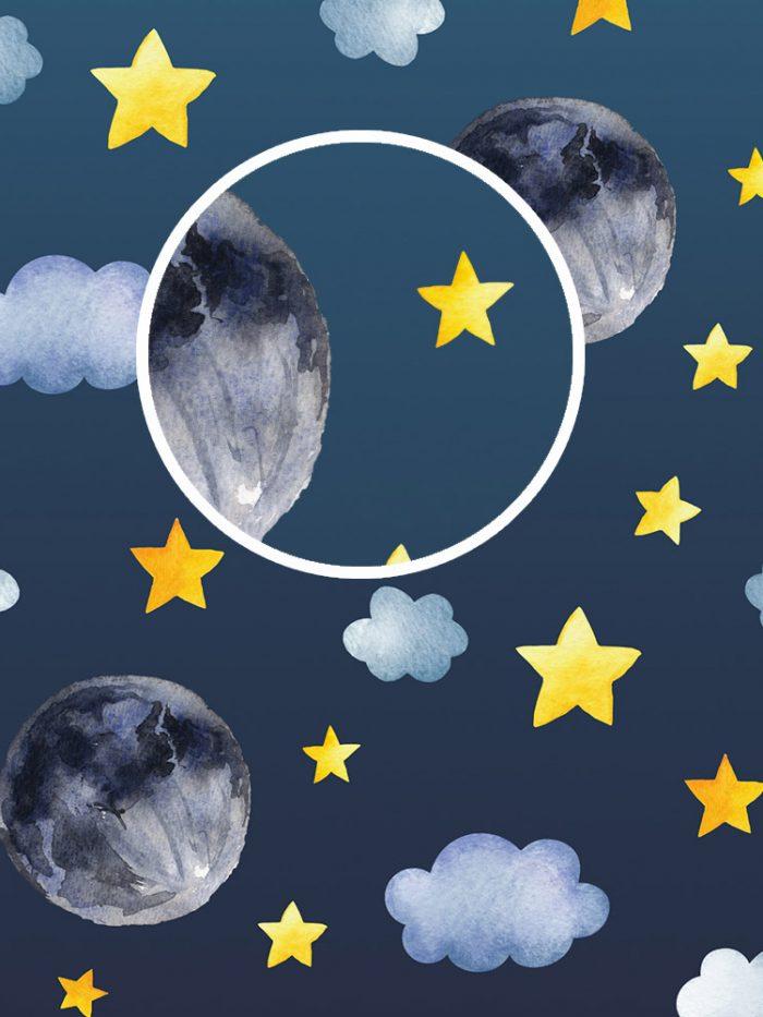 Papel de parede infantil lua