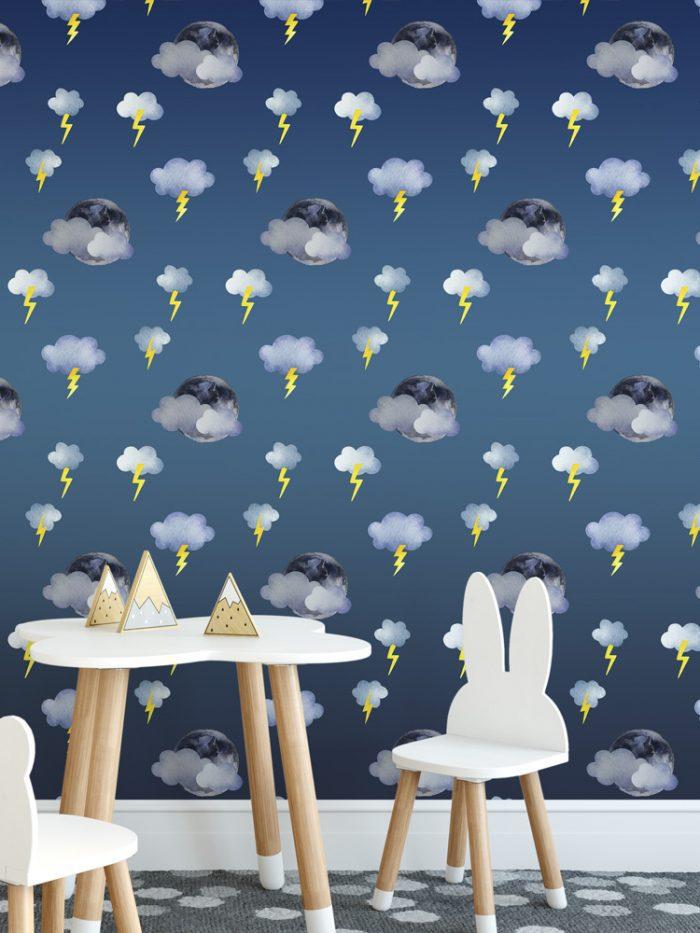 Papel de parede infantil lua nuvens e raios relâmpagos