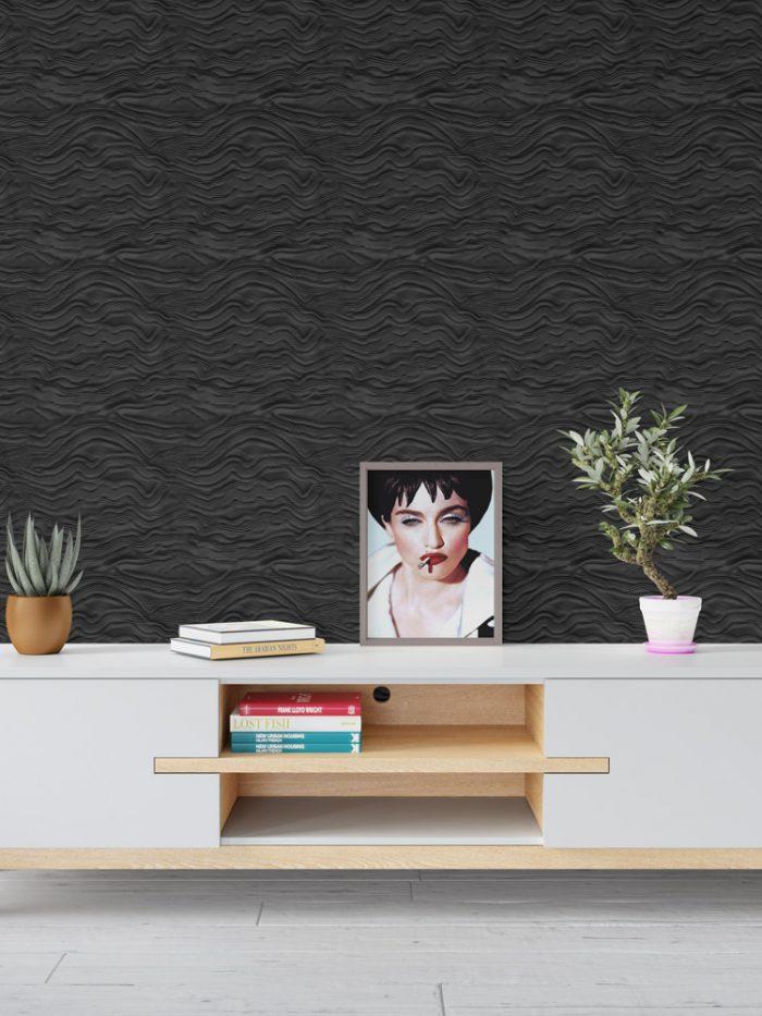 papel de parede preto 3D cera