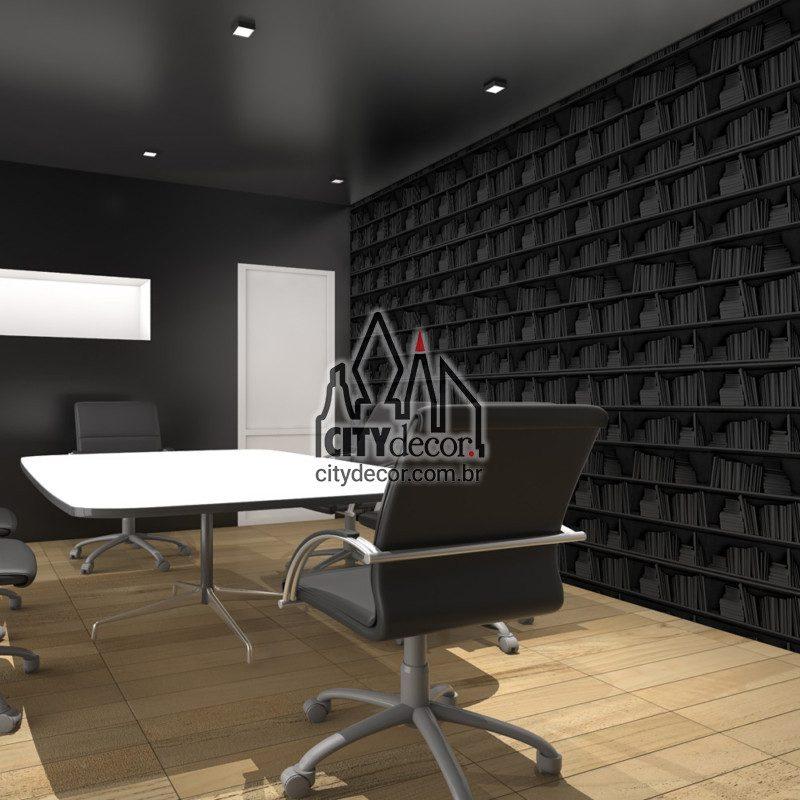 papel de parede preto 3D livros