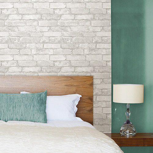 Adesivo de parede tijolinho branco