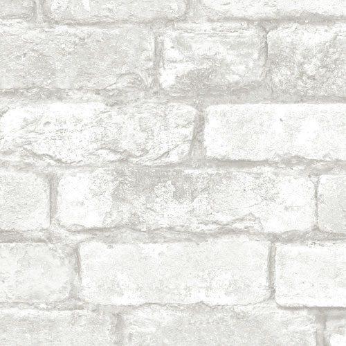 Adesivo de parede tijolo branco rústico