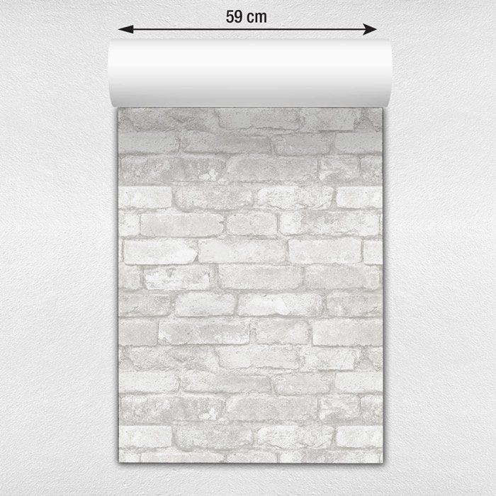 Papel de parede tijolo a vista branco